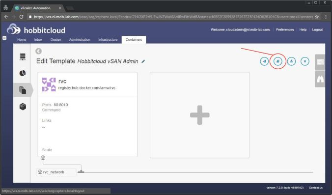 Deploying containers with vrealize automation 72 part 1 click the design tab followed by blueprints click the blueprint you just created followed by edit to bring up the design canvas malvernweather Image collections