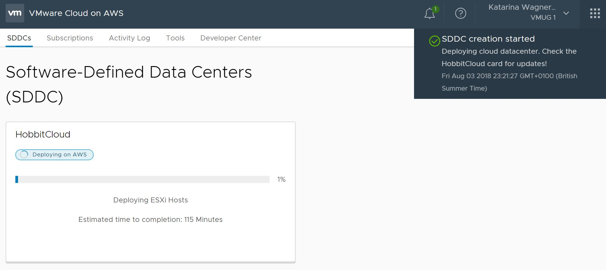 Configuring Hybrid Linked Mode between VMConAWS and a multi